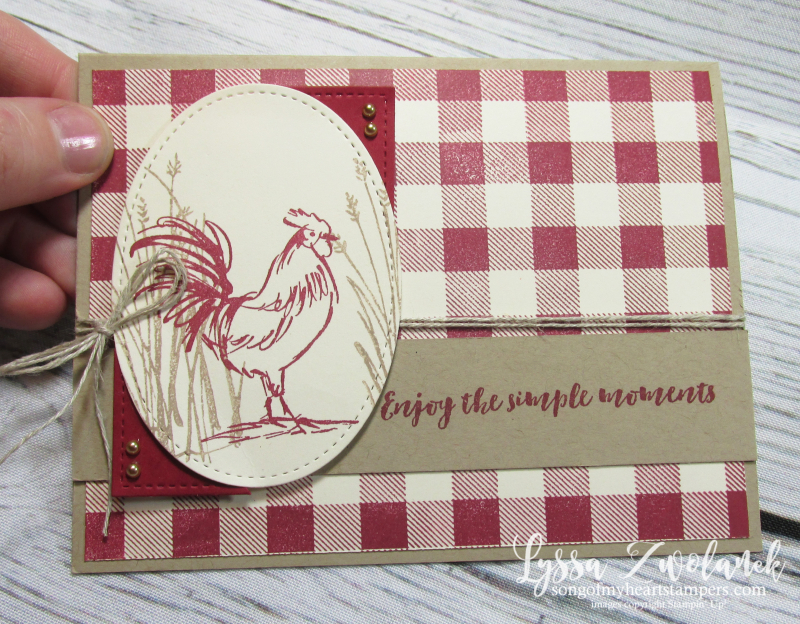 Rooster hen chicken stamps Stampin up farmhouse barn crackle background twine