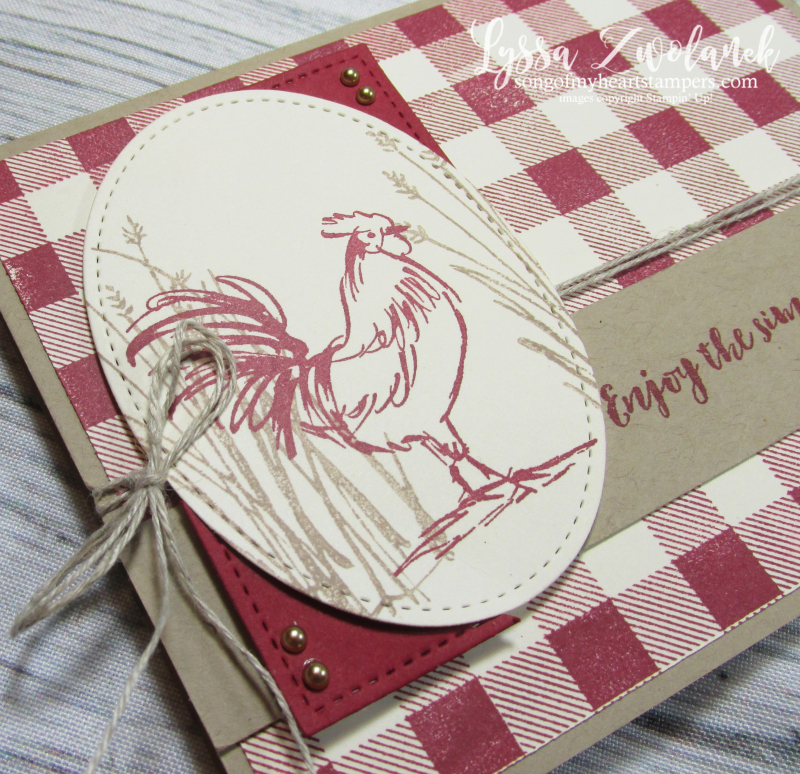 Rooster hen chicken stamps Stampin up farmhouse barn buffalo plaid check