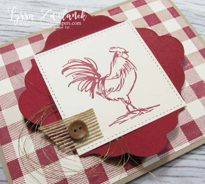 Rooster hen chicken stamps Stampin up farmhouse plaid shutter