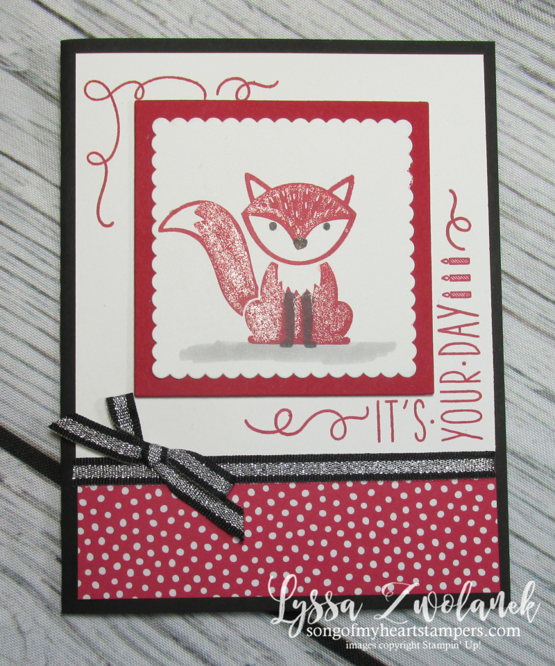 Foxy friends punch art around corner rubber stamps satmpin up cardmaking sketches