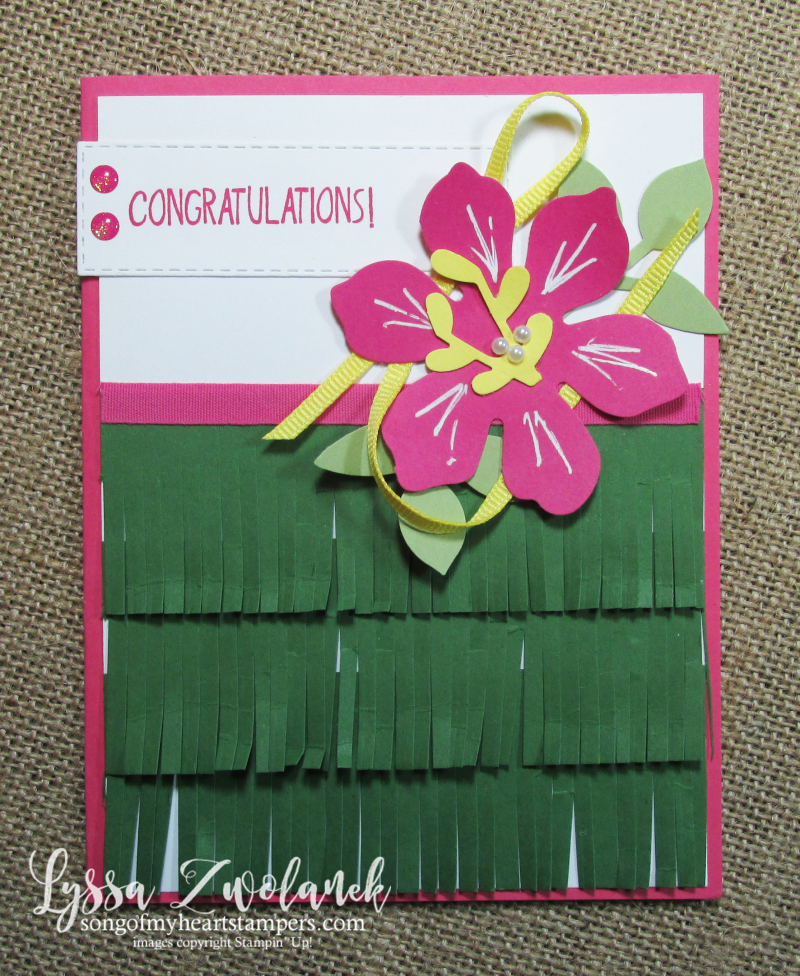 Hawaiian grass skirt hibiscous luau island bon voyage maui Stampin Up fringe scissors