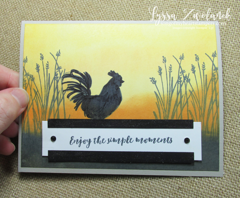 Sunrise rooster glycerin technique stampin up farmhouse DIY cardmaking