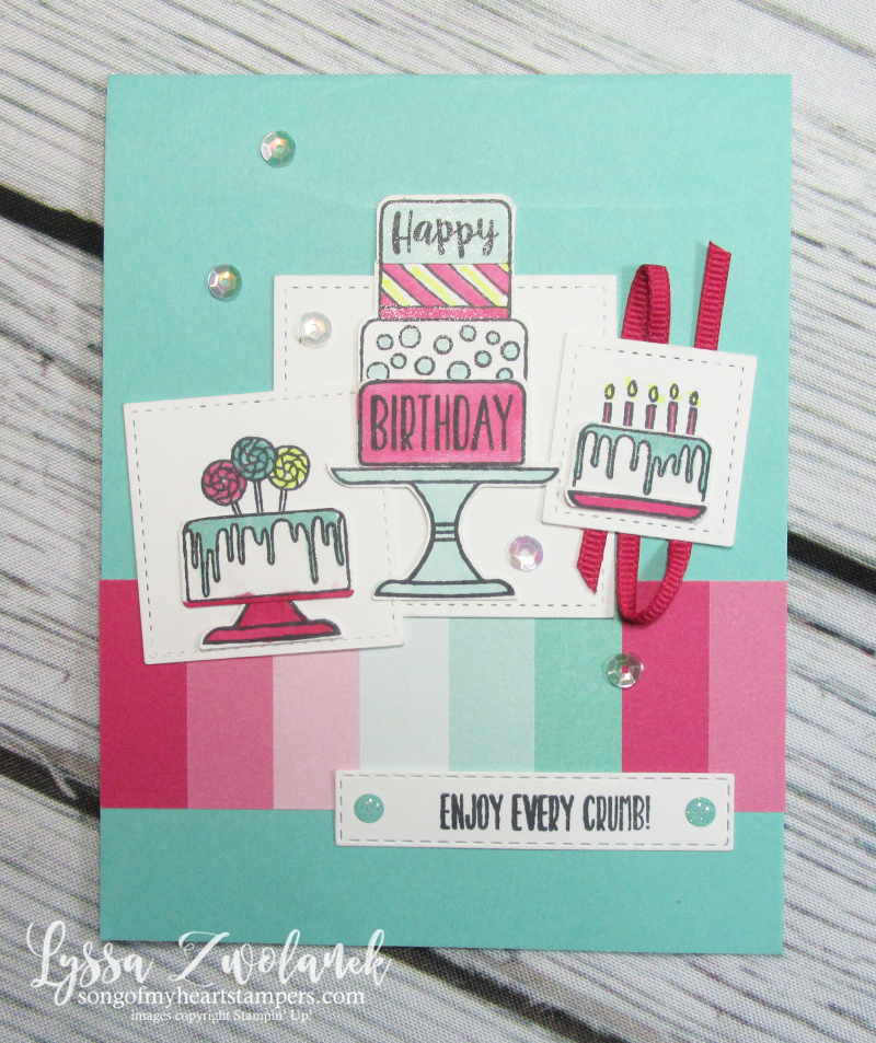 Piece cake builder punch Stampin Up bundle birthday tutorial techniques