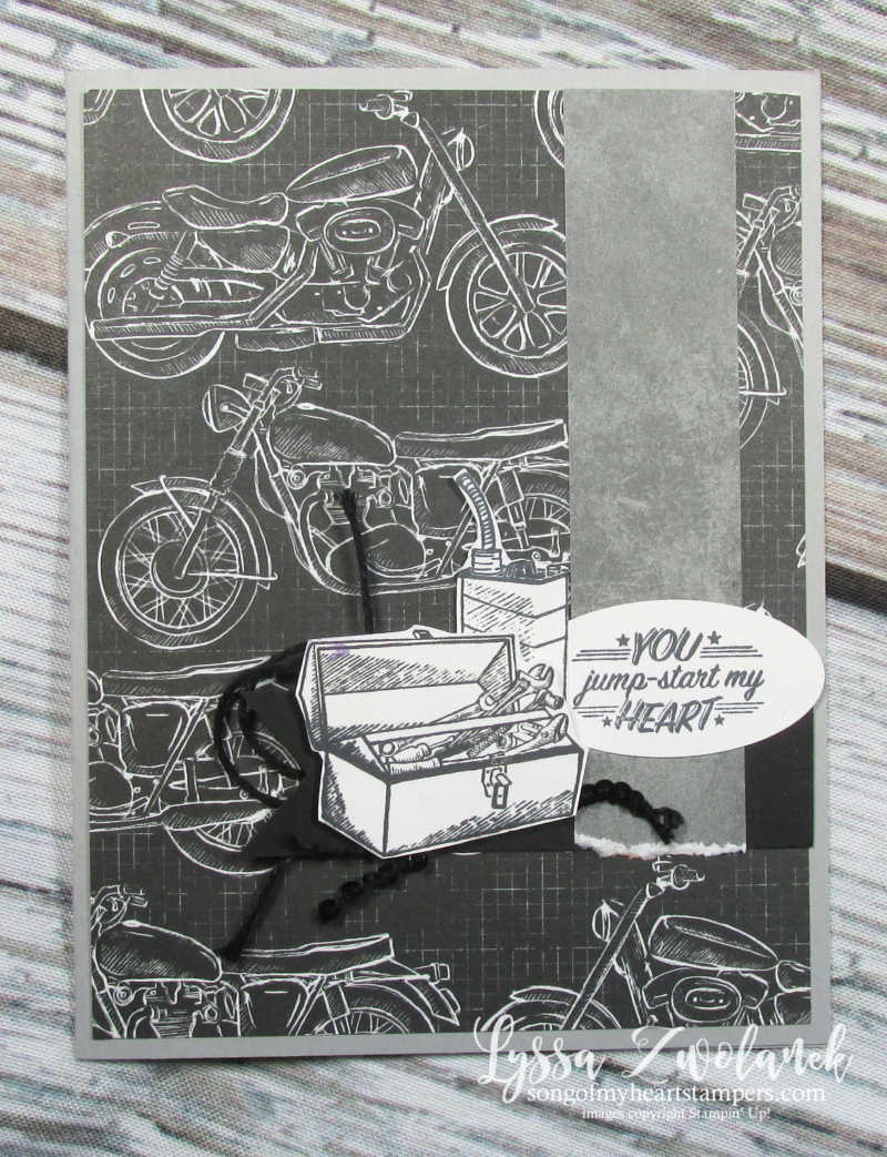 Classic garage geared up motorcycle harley davidson papers Stampin Up