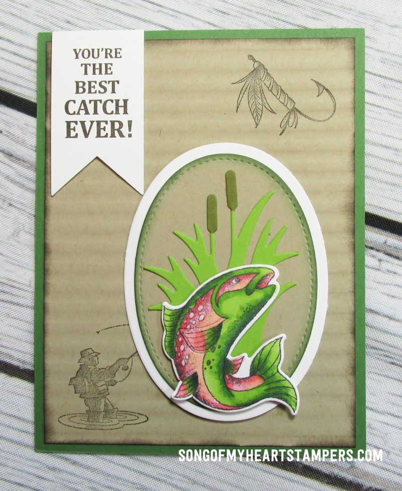 OnStage stampin up rubber stamps masculine best catch fishing guy cards