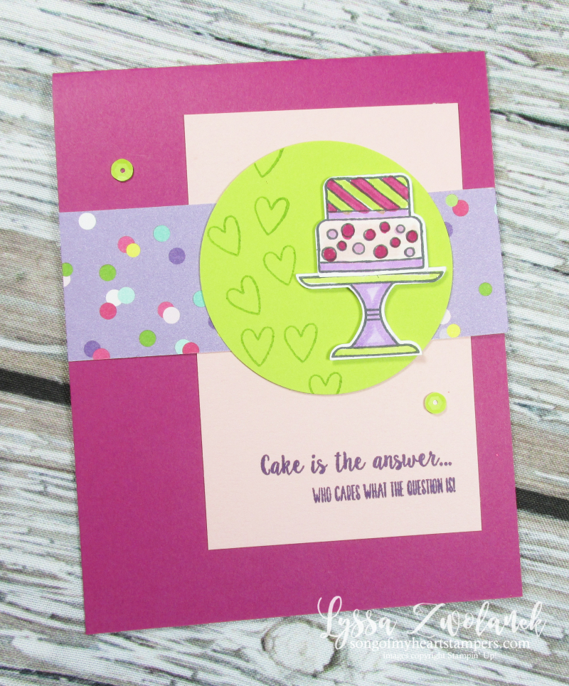 Cake cut punch bundle rubber stamps stampin up Lyssa class club piece cardmaking