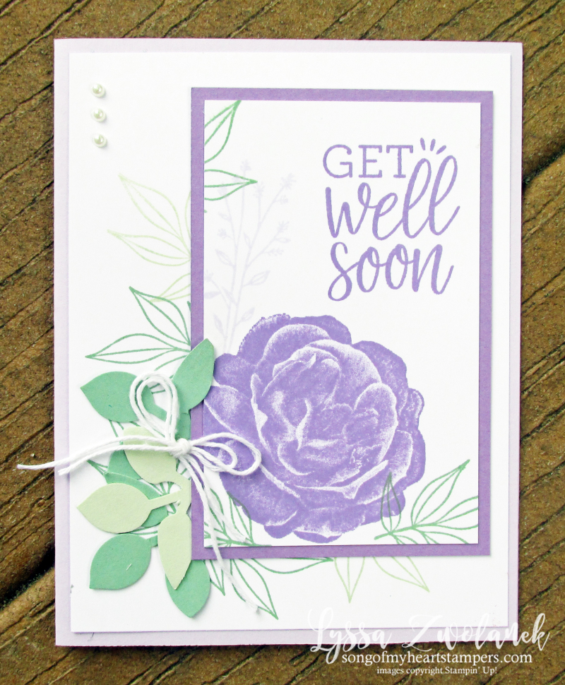 Healing hugs get well soon rubber stamps Stampin Up purple posy rose