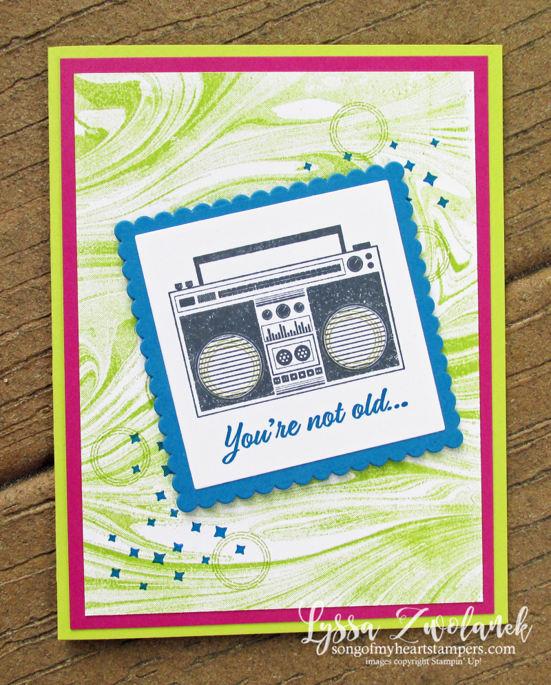 Retro birthday boombox stamps over the hill Stampin Up card ideas