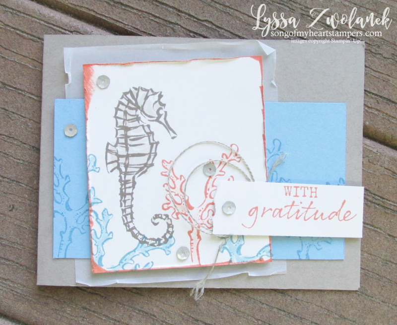 Seaside notions seashells ocean card ideas Stampin Up seahorse sand dollars coral rubber stamps