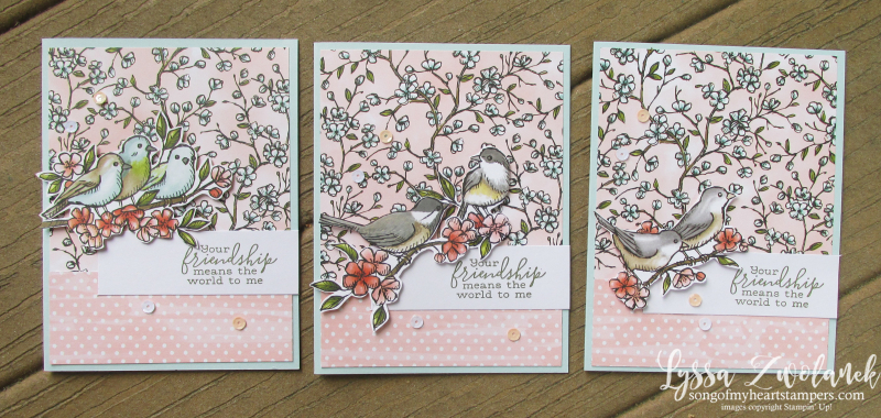 Bird ballad thank you fussy cut Stampin' Up flying birds song sing