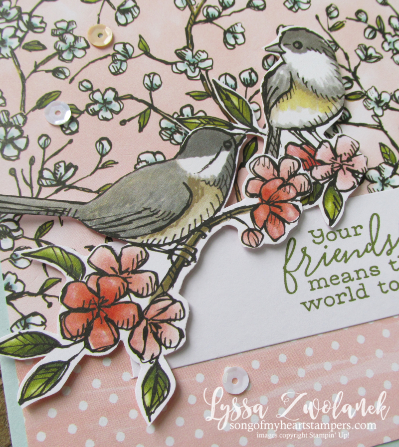 Bird ballad thank you fussy cut Stampin' Up branch flying birds song sing
