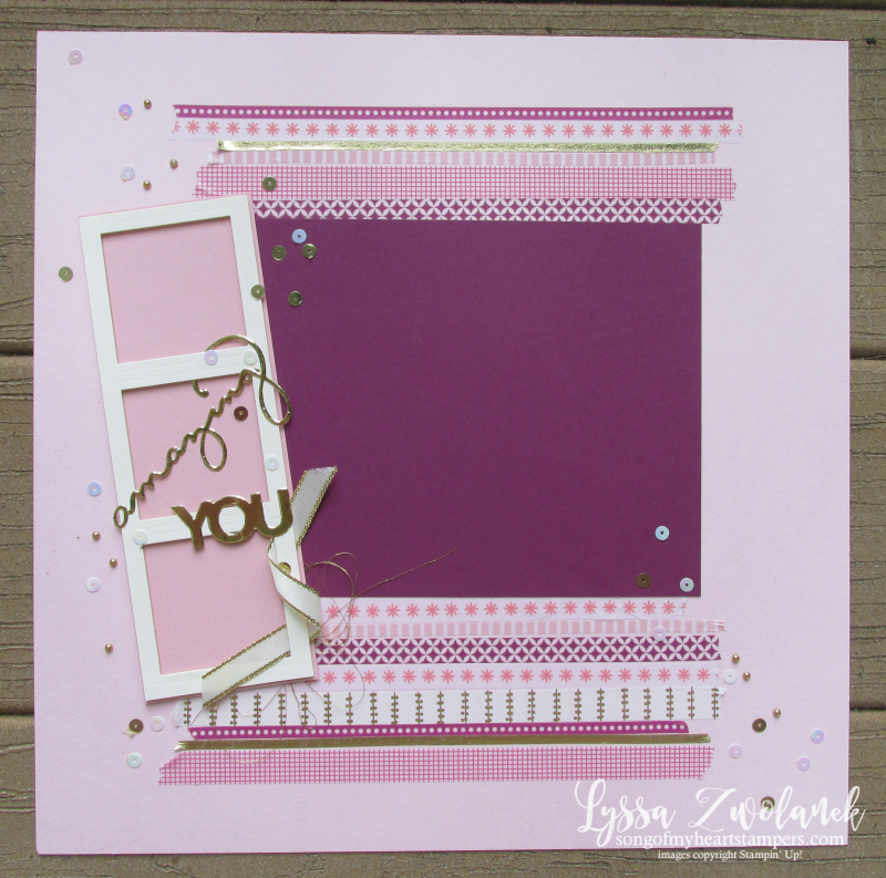 Celebrate you amazing thinlets 12x12 scrapbooking layout Lyssa summer school
