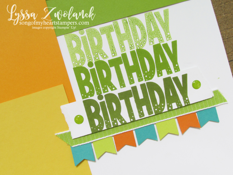 One for all Stampin up happy birthday stamps scrapbook 12x12 layout Lyssa