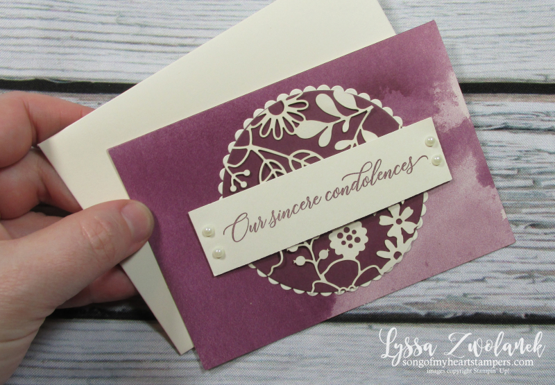 Compassion kindness sympathy rubber stamps stampin up watercolor notecards lace delicately detailed