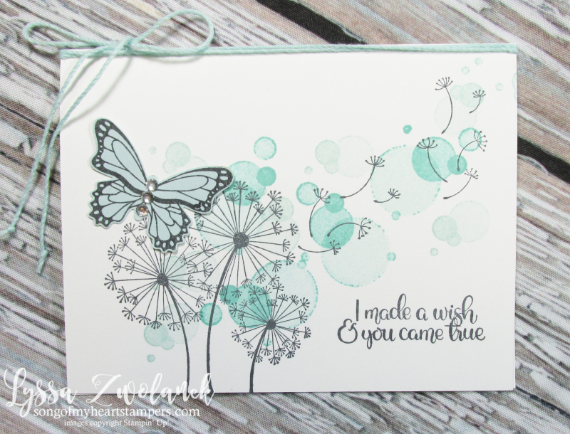 Dandelion Wishes Stampin Up seeds garden blowing butterfly wedding wink stella