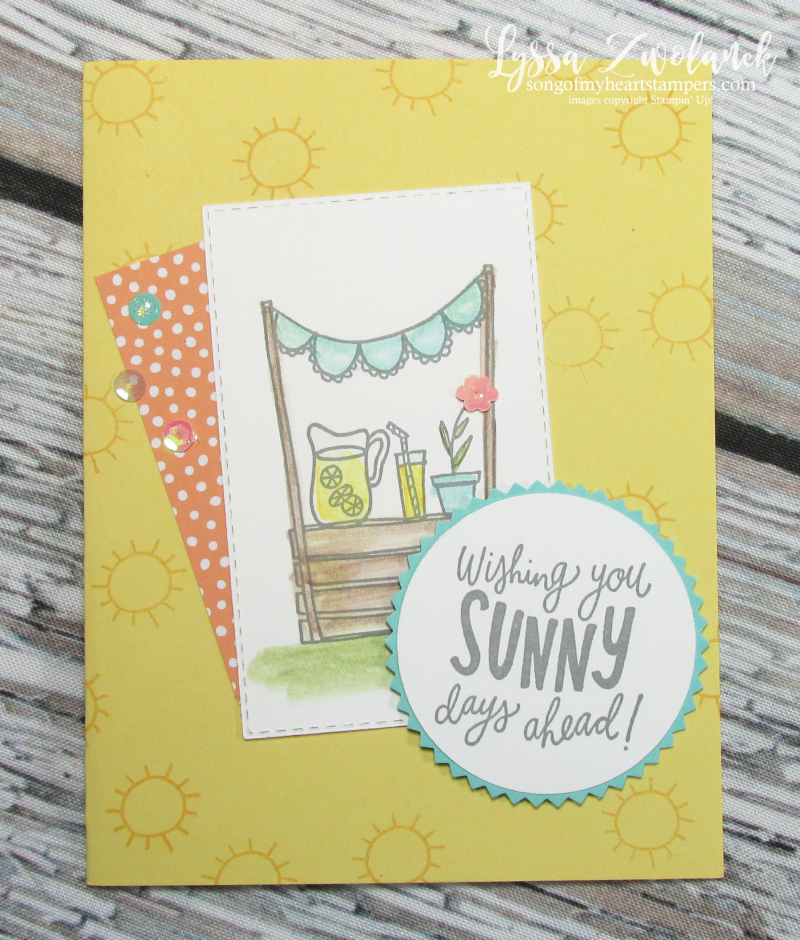 Lemonade Stand sunny days Stampin Up starburst punch circle papercrafts DIY cardmaking