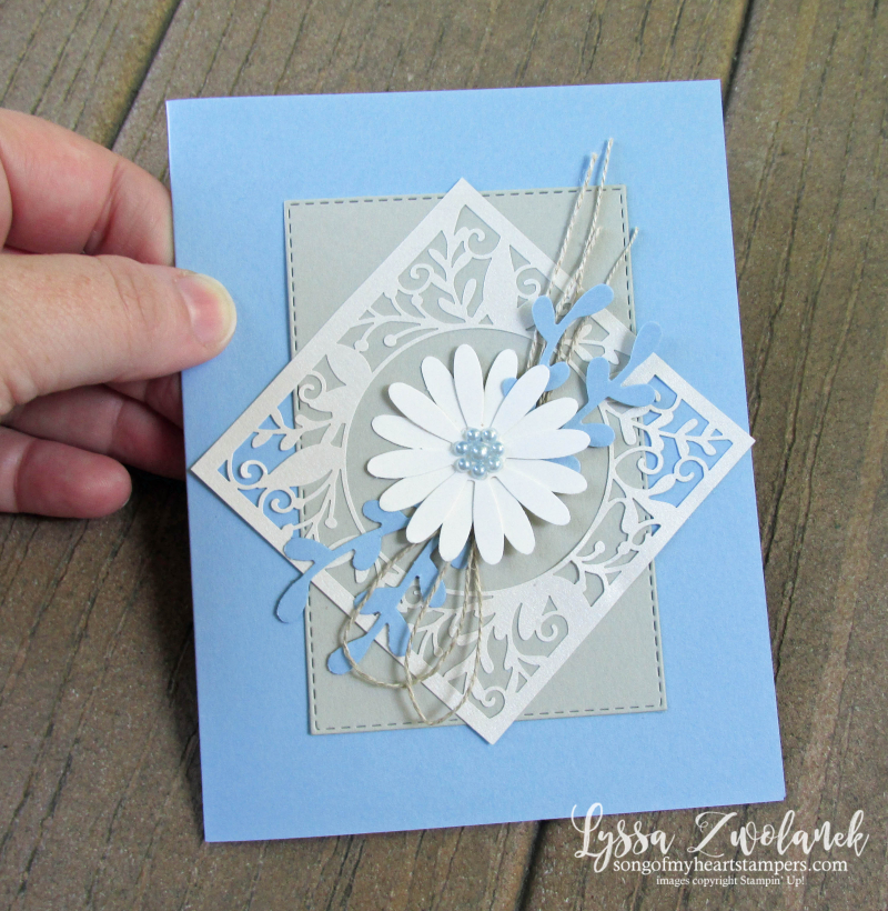 Daisy lane punch bundle Stampin up rubber stamps lace daisies class Lyssa cardmaking DIY