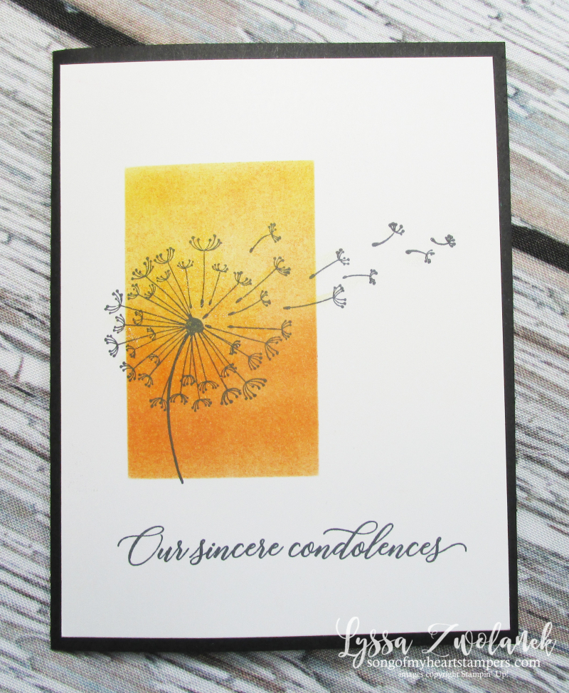 Dandelion Wishes wind seeds blowing Stampin Up sympathy sunset rubber stamping