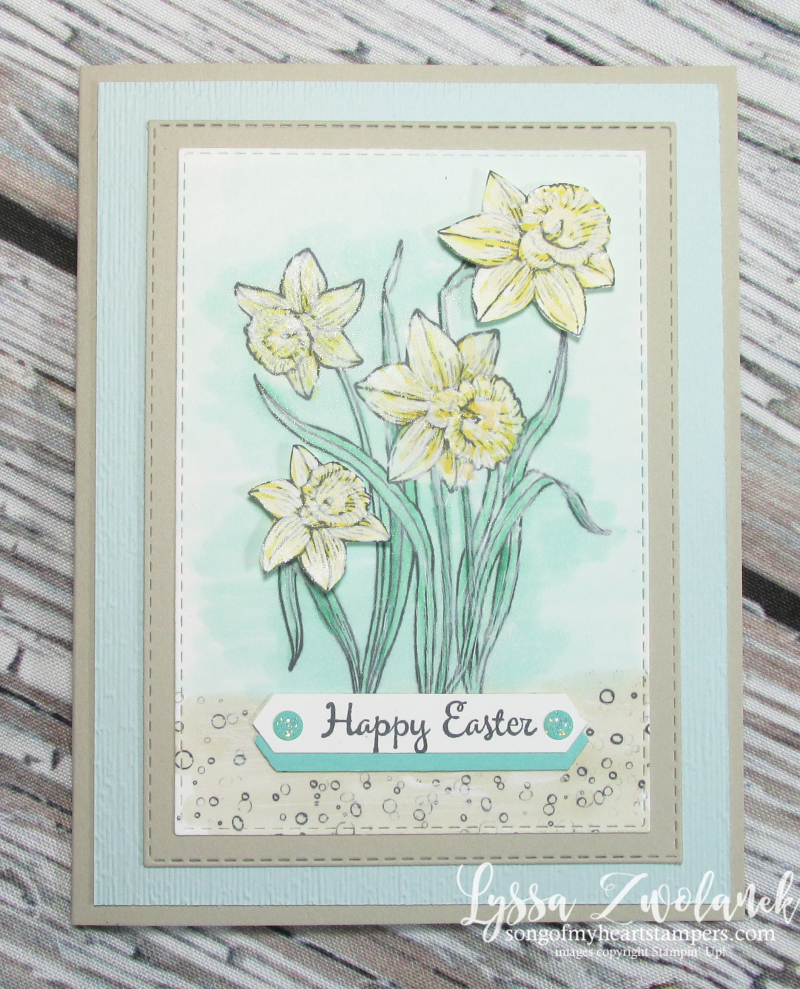 Chalk marker brushtroke technique stampin up Easter spring daffodils DIY cardmaking stamps
