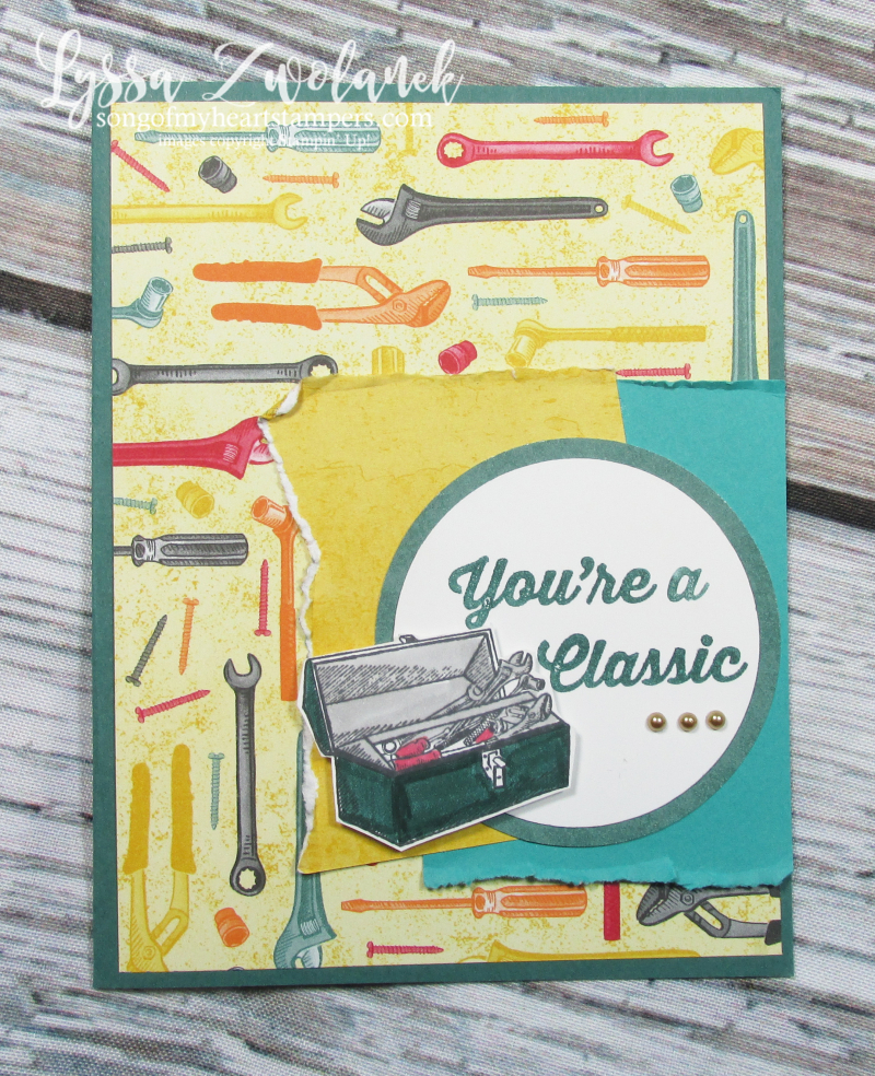 Classic garage geared up handyman thank you tools card Stampin Up