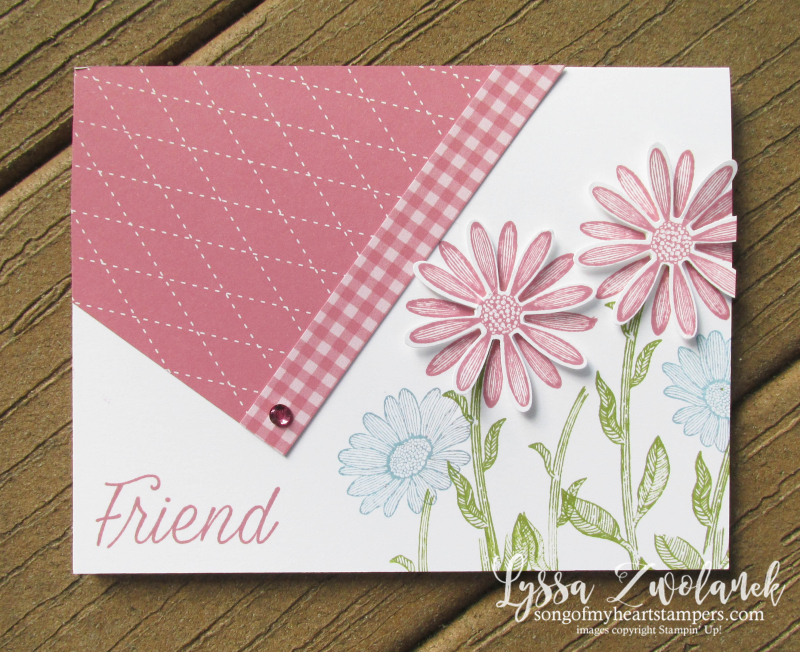 Daisy lane diagonal daisies punch stampin' up gingham rose rococo plaid cardmaking layout