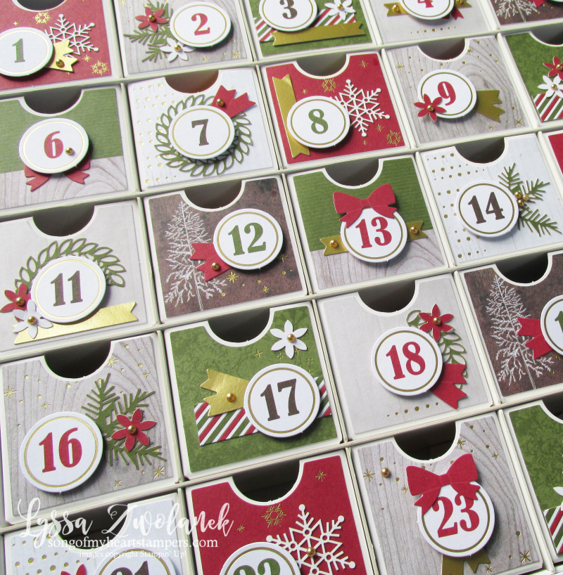 Countdown calendar advent Christmas treat reusable recycle Stampin Up Lyssa holiday DIY kit