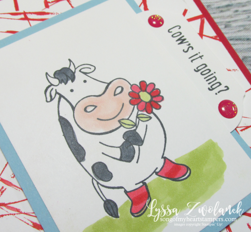 Cows it going over the moon cow rubber stamps Stampin Up udderly farm