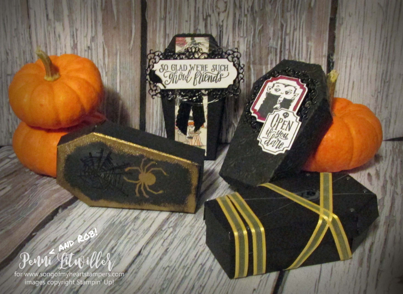 Coffin boxes Stampin Up halloween treats candy precut easy DIY tutorial rubber stamps holiday