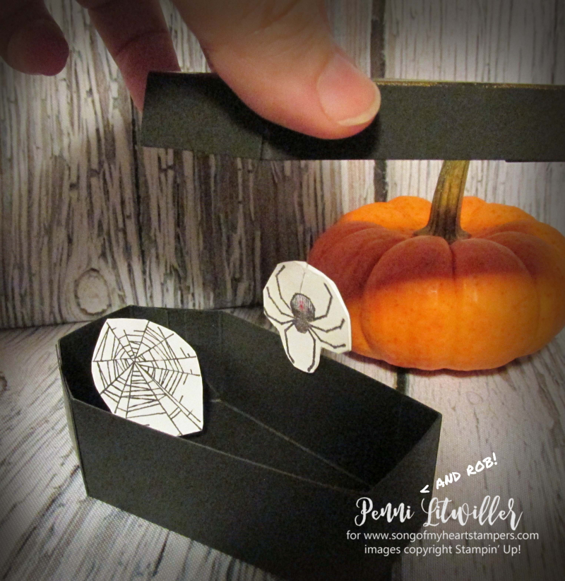 Coffin boxes Stampin Up halloween treats candy precut easy spider DIY tutorial rubber stamps holiday