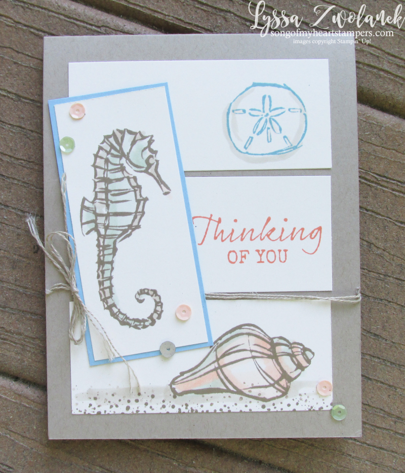 Seaside notions seashells ocean card ideas Stampin Up seahorse sand dollars rubber stamps