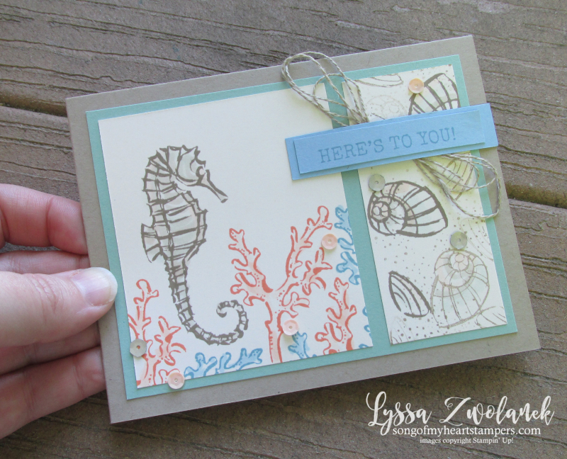 Seaside notions seashells ocean card ideas Stampin Up seahorse sand dollars conch coral rubber stamps