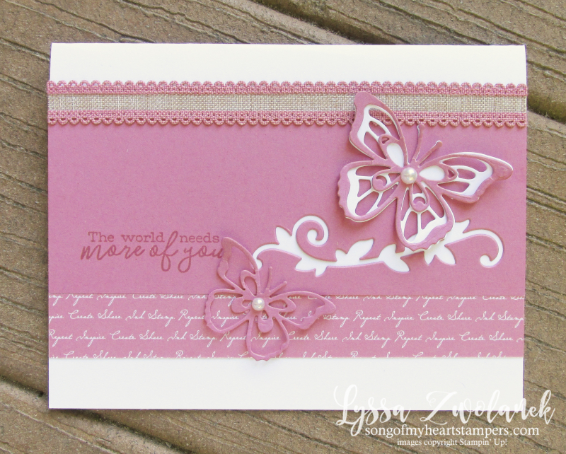 Incolors Stampin up butterfly wishes dies new rococo rose cardmaking sketches Lyssa