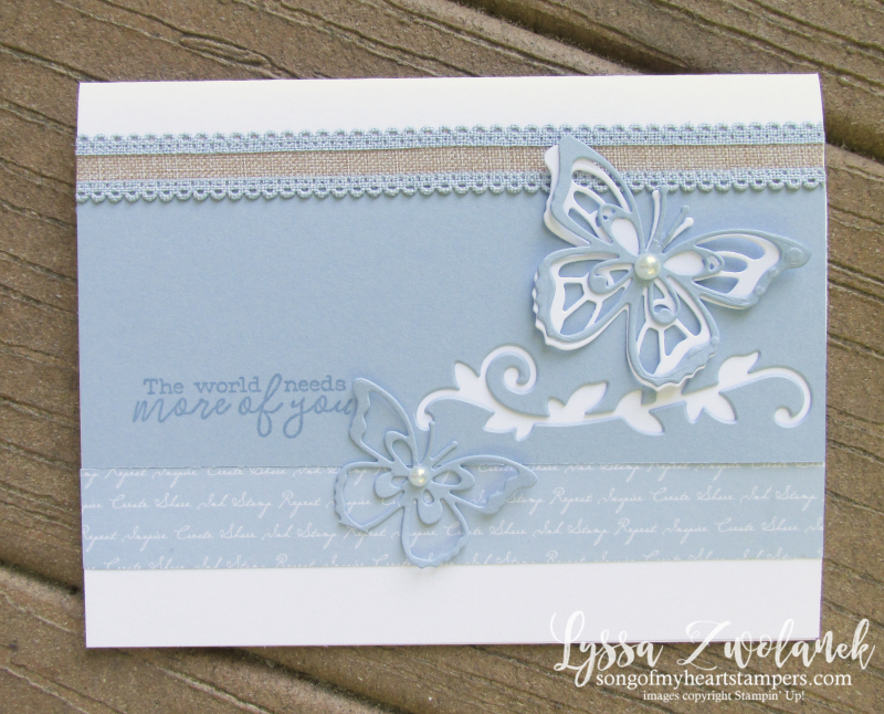 Incolors Stampin up butterfly wishes dies new seaside spray cardmaking sketches Lyssa