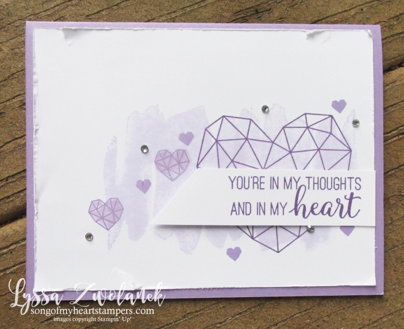 Lyssa purple party posy modern heart Stampin Up lavender ink pad cardstock cards