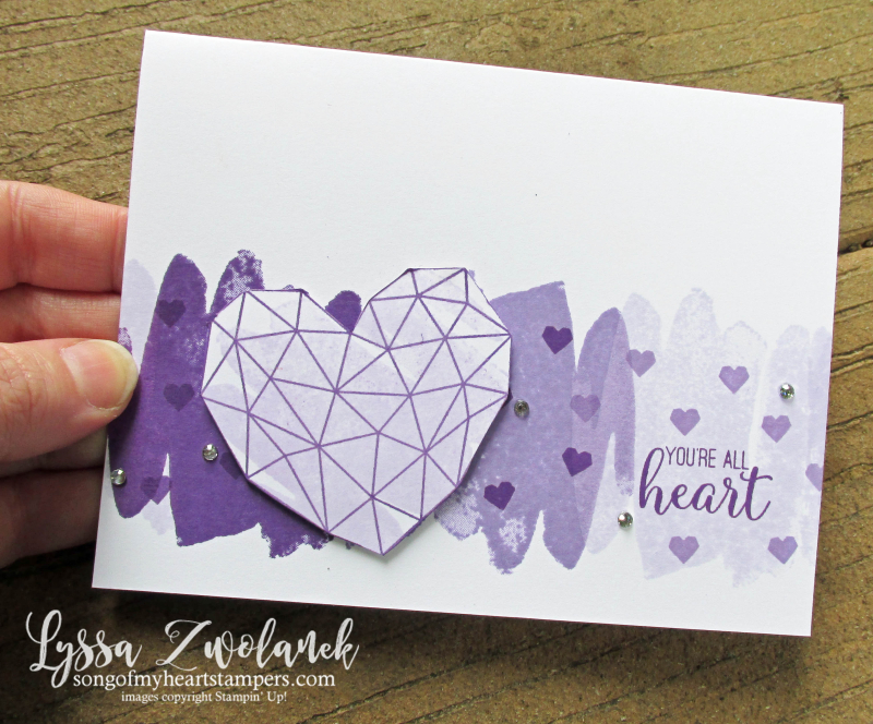Lyssa purple party posy modern heart Stampin Up lavender ink pad cardmaking cards DIY