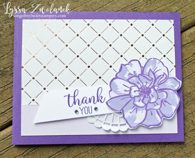 Lyssa purple party posy wild rose Stampin Up lavender ink pad cardstock cards