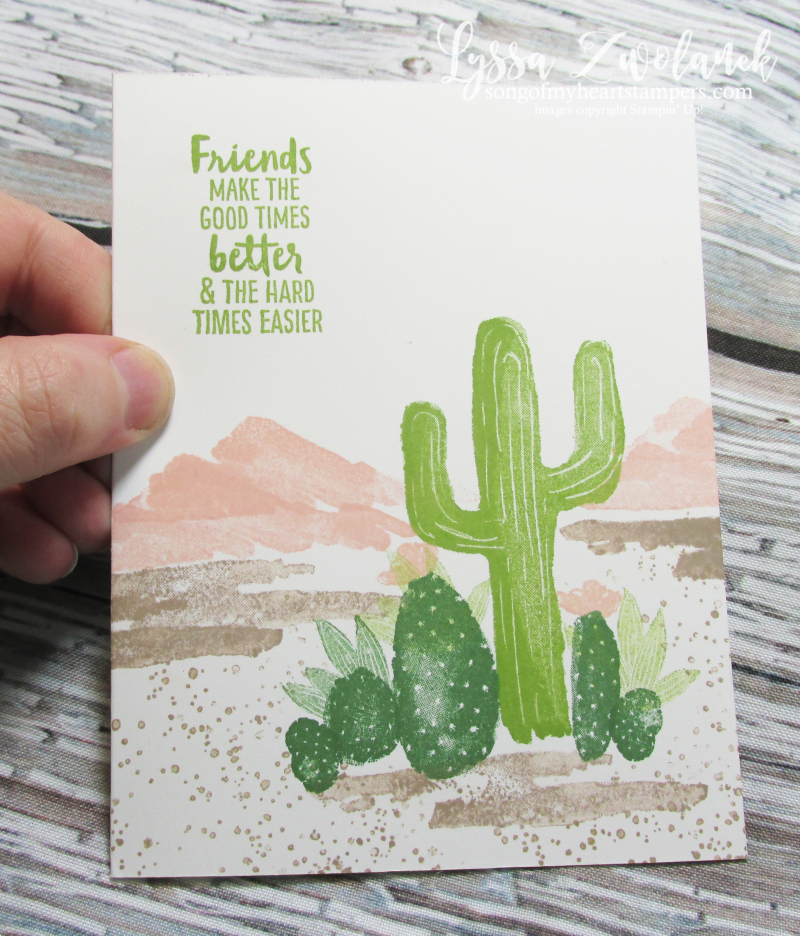 Blooming desert cactus succulents Stampin Up mountains scene builder rubber stamps