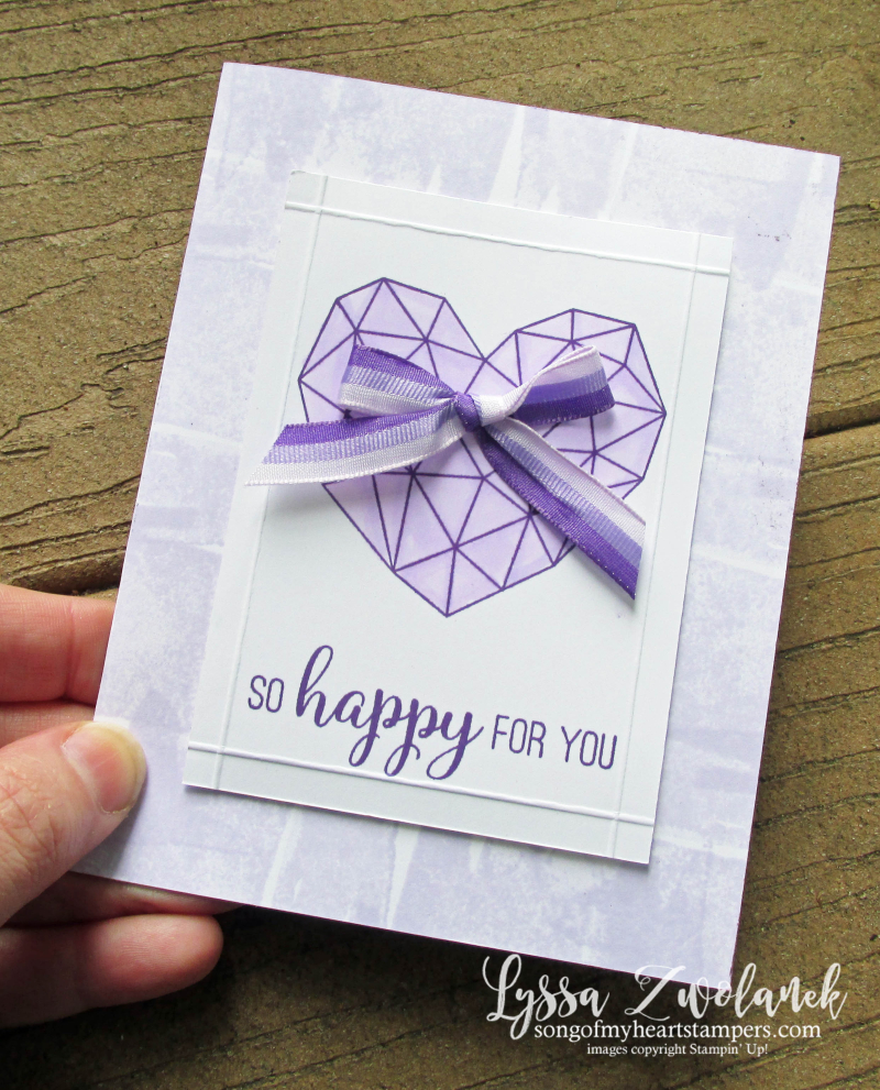 Lyssa purple party posy modern heart Stampin Up lavender amethyst ink pad cardmaking cards DIY