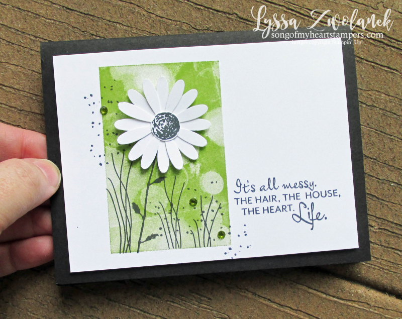 Heres a Card Stampin Up daisy punch Bokeh Dots background Lyssa cardmaking techniques