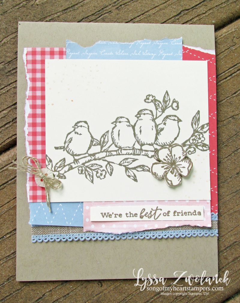 Bird ballad free nested flying feathered scrap mat Stampin Up rubber stamps