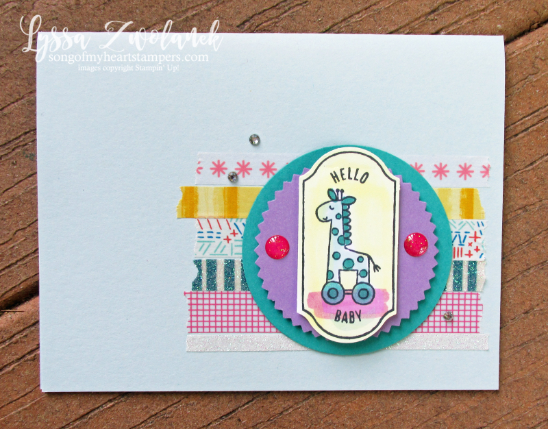 Time for tags hello baby tag punch Stampin Up label show invites congrats