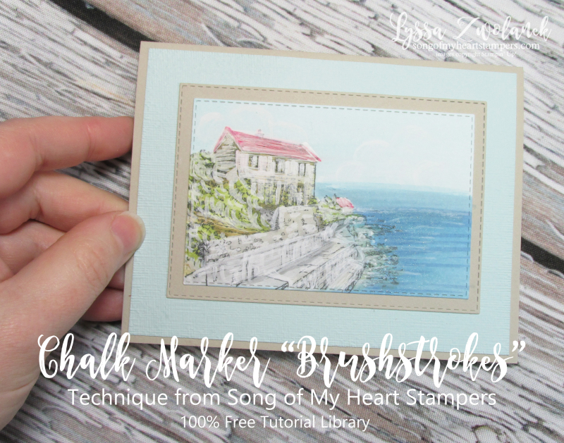 Chalk marker brushtroke technique stampin up by the bay scenic stamps