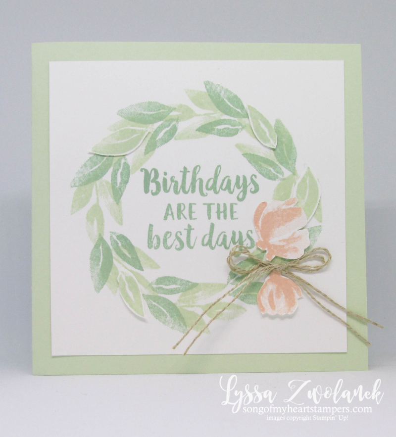 Beautiful friendship Stampin Up rubber stamps wreath leaves hydrangeas roses cardmaking techniques