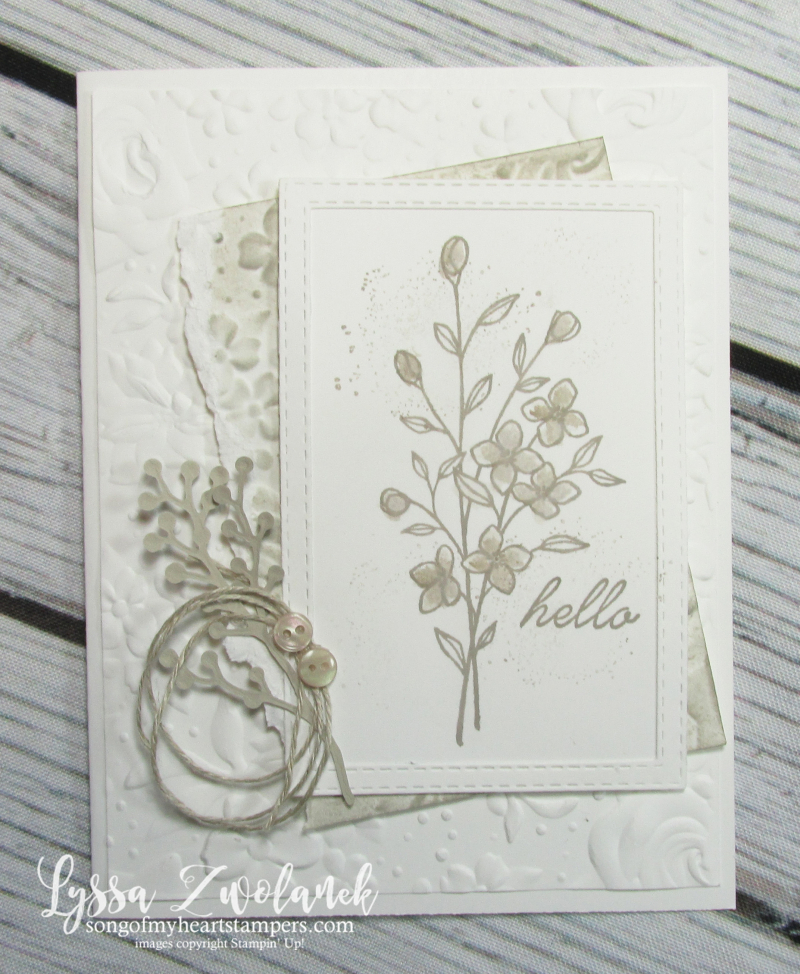 Touches nature stampin up gray granite country floral embossing DIY cardmaking stamps