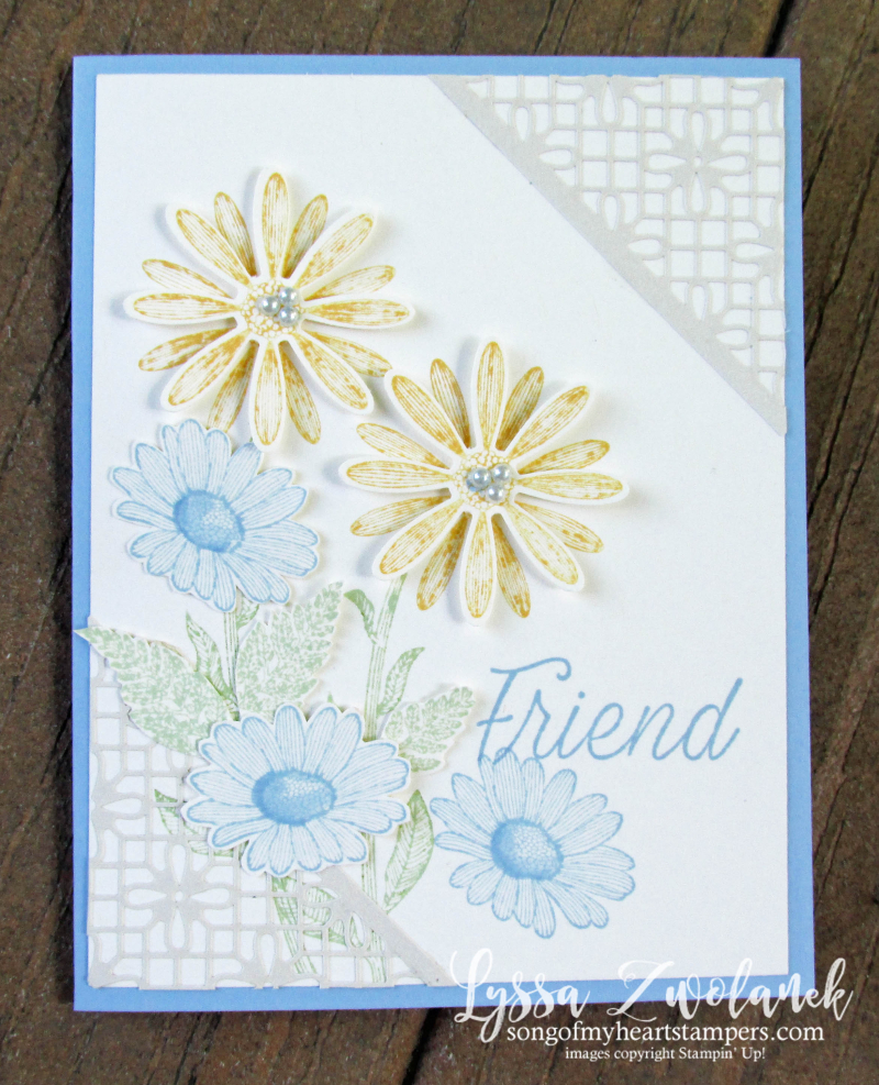 Daisy lane punch bundle Stampin up rubber stamps lace daisies class blends cardmaking DIY