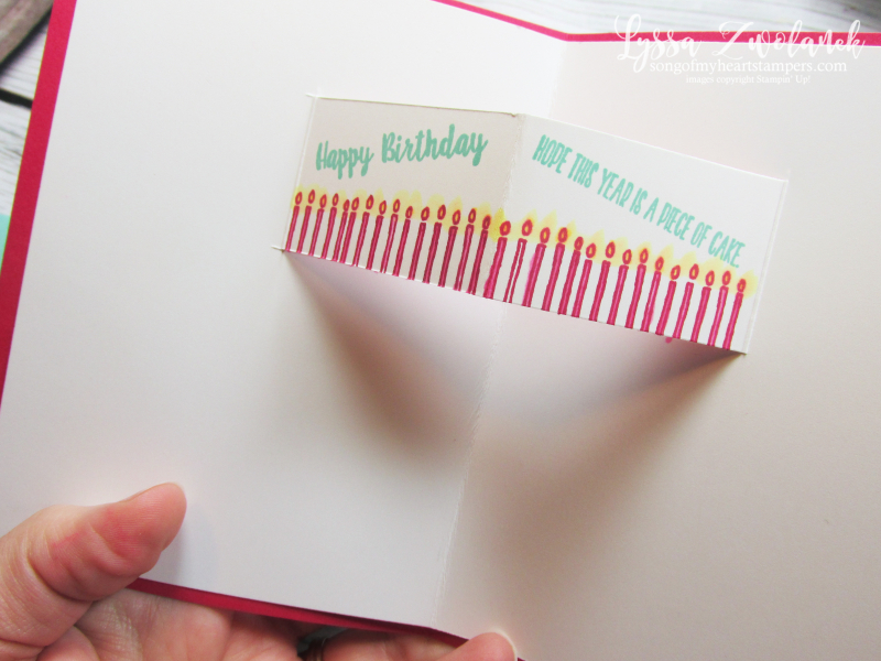 Pop up Piece of Cake bakery builder punch Stampin Up rubber stamping birthday card tutorial