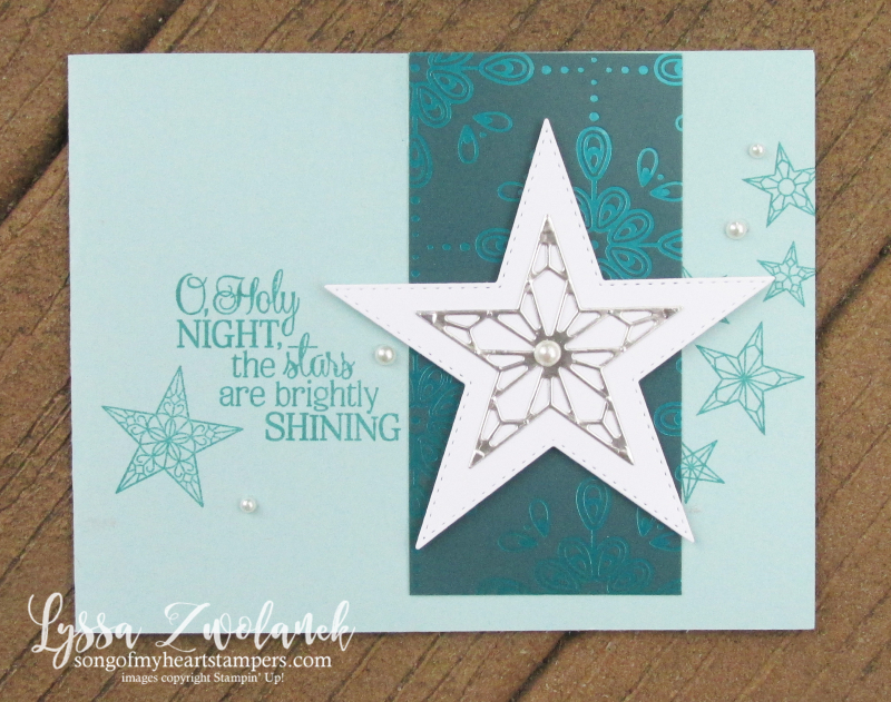So Many Stars holiday Christmas cards Stampin Up o holy night brightly shining rubber stamps dies