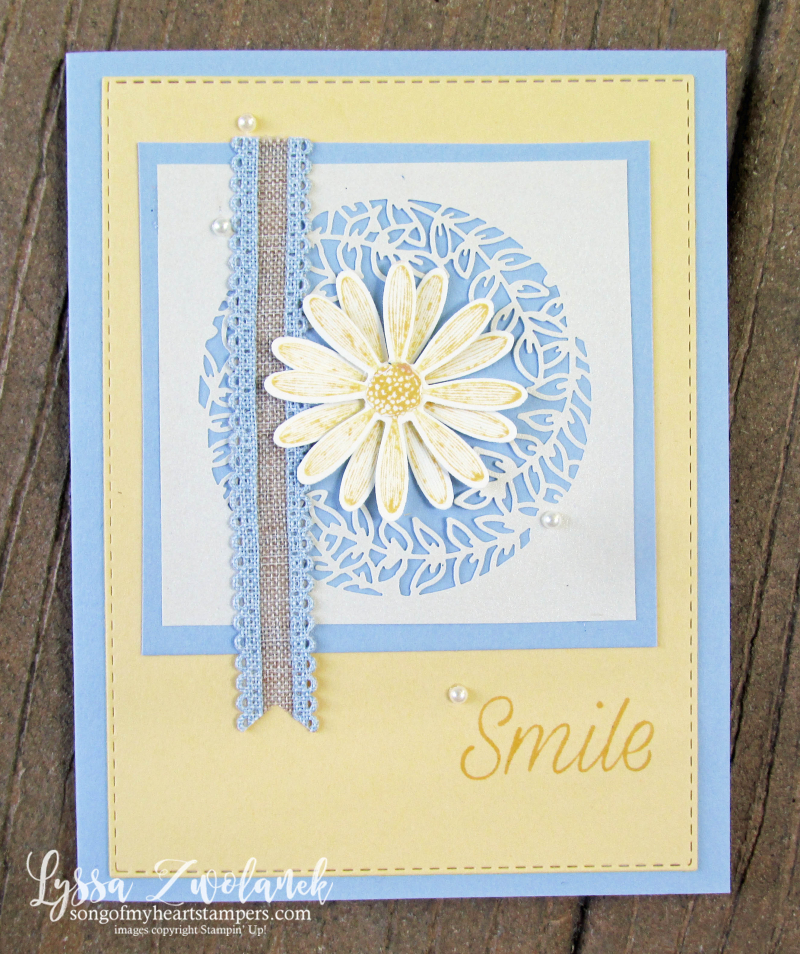 Daisy lane punch bundle Stampin up rubber stamps lace daisies DIY class Lyssa cardmaking