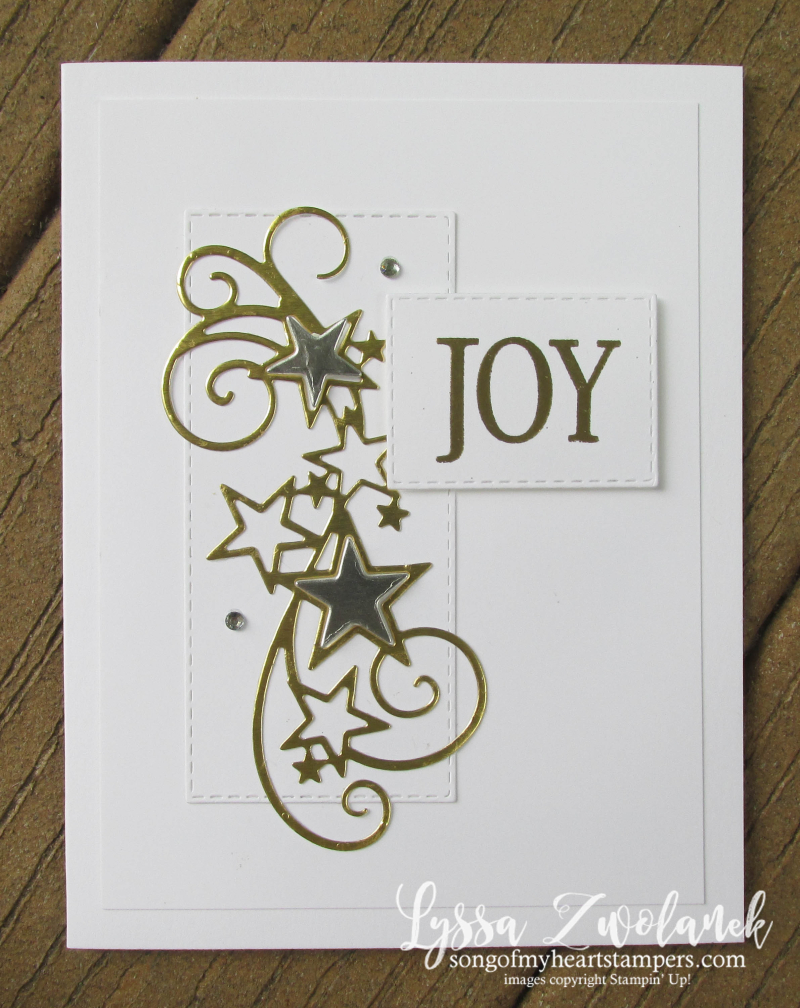 Stars silver gold JOY Stampin Up christmas holiday cards DIY embossing so many star