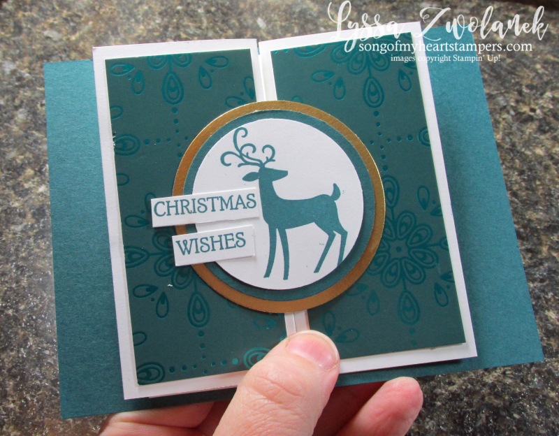 Double door simple fancy fold Stampin Up tutorial Lyssa rubber stamps scoring Christmas instructions